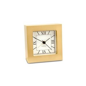 Chelsea Clock Square Alarm Clock, Brass